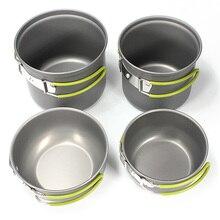 Hot Sale 4pcs/2Pcs Set Outdoor Tableware Hiking Camping Cooking Picnic Non-Stick Aluminum Cookware Pot bowl