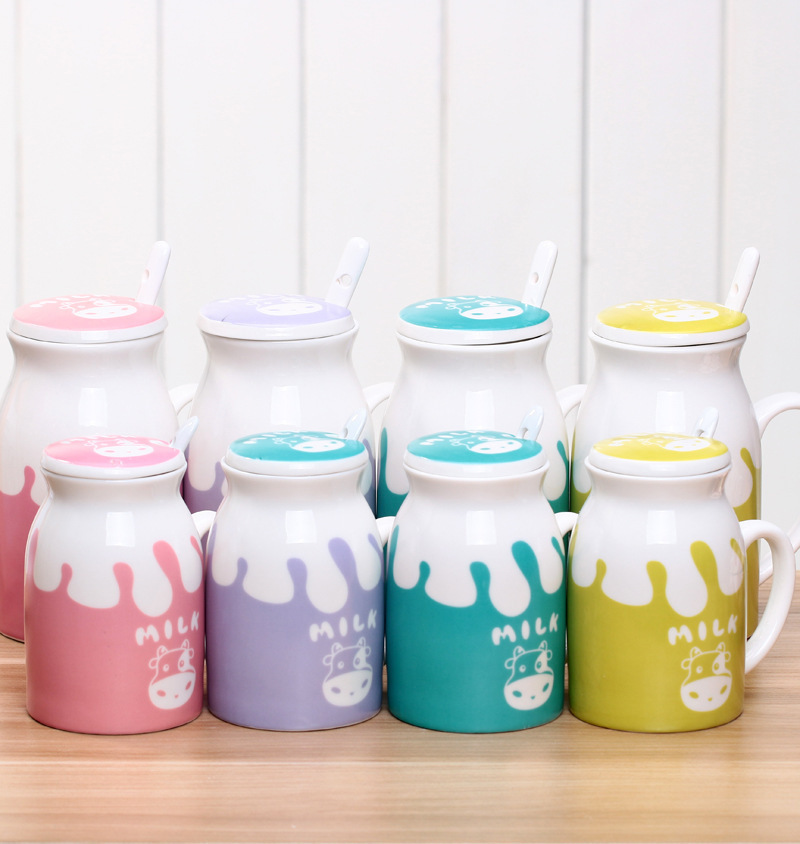 Ceramic Mugs For Sale Part - 39: New Sale Cartoon Ceramic Mug Milk Cup With Coveru0026 Spoon Kawaii Caneca 500mu0027  Coffee Cup ...