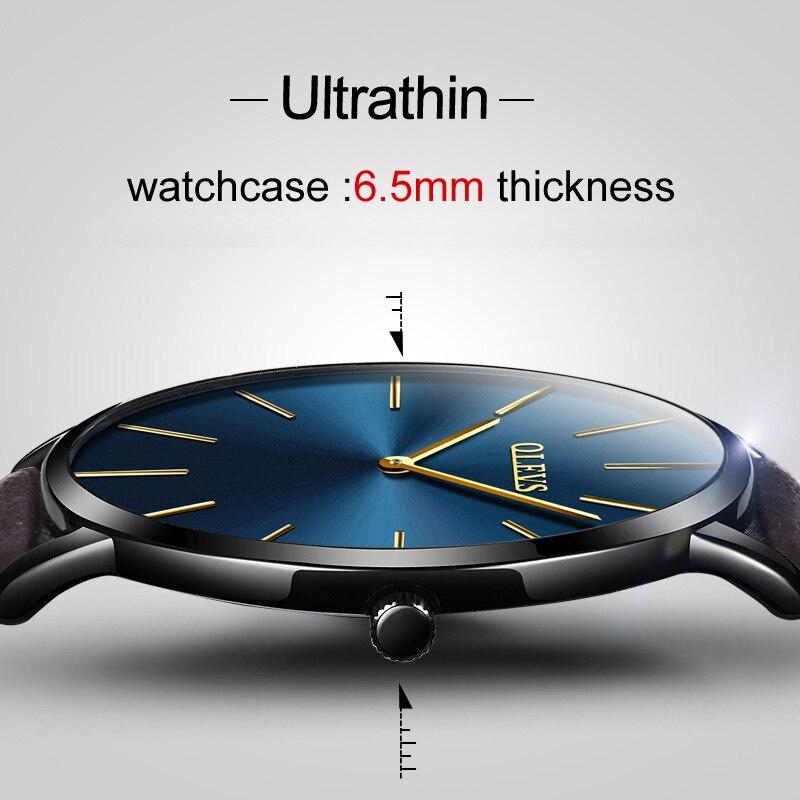 359b874c7bc7 Relojes ultradelgados de cuero negro OLEVS para hombre relojes de pulsera de  lujo de marca superior hombres de negocios Simple cuarzo creativo reloj de  ...