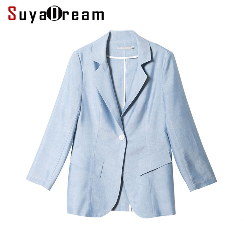 Women Blazer 3/4 sleeved 100%Real silk Solid One button blazers 2017 NEW Fall Winter Office lady Outer wear Light Blue
