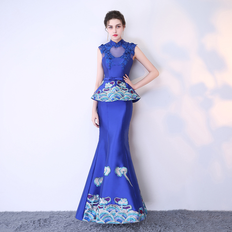 c2902540400 2019 современный Cheongsam Сексуальная Qipao Для женщин длинные  традиционные китайские платья Восточный Свадебные платья вечернее платье