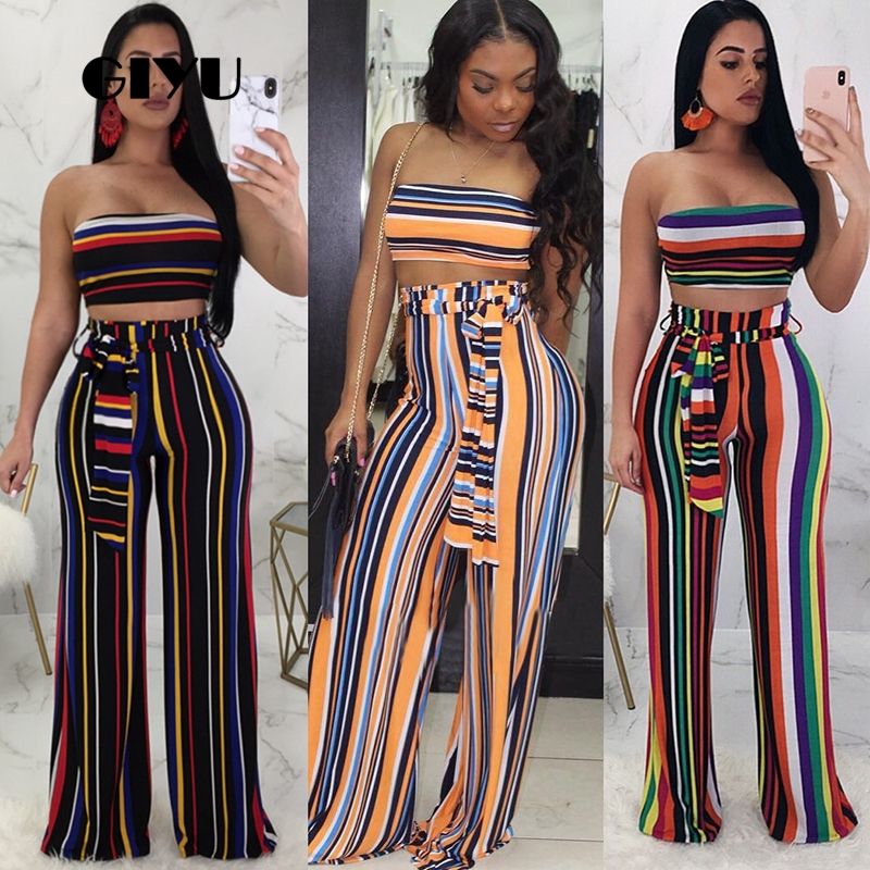 Giyu Striped Patchwork Women Strapless Cropped Tracksuits High Waist 2 Piece Set Wide Leg Pants Sashes Overalls Ensemble Femme
