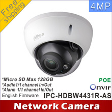 Free shipping Dahua 4Mp IPC-HDBW4431R-AS cctv camera network camera  POE  Micro SD Audio 1/1 In/Out ip camera network H265