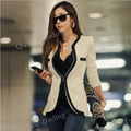 Plus Size XXL New Fashion mulheres manga comprida magro marca Jacket Lady Autumn v-neck Black White Suit OL Blazer jaquetas 8361