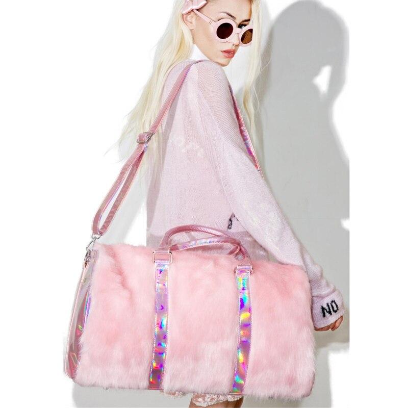 Grand fourre-tout pour femmes 2018 peluche rose Sac de voyage mignon dames sacs à bandoulière grande femme sacs à Main Sac a Main Sac fourre-tout pour femmes - 3