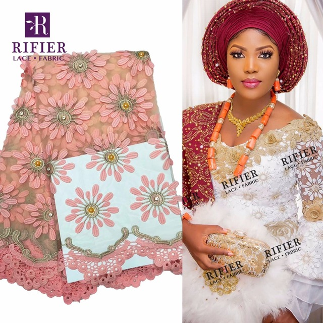 Big Beads And Stones Style African Net Lace Fabric In Pink 3D Applique  Guipure Embroidered Beaded f491f9b7e588