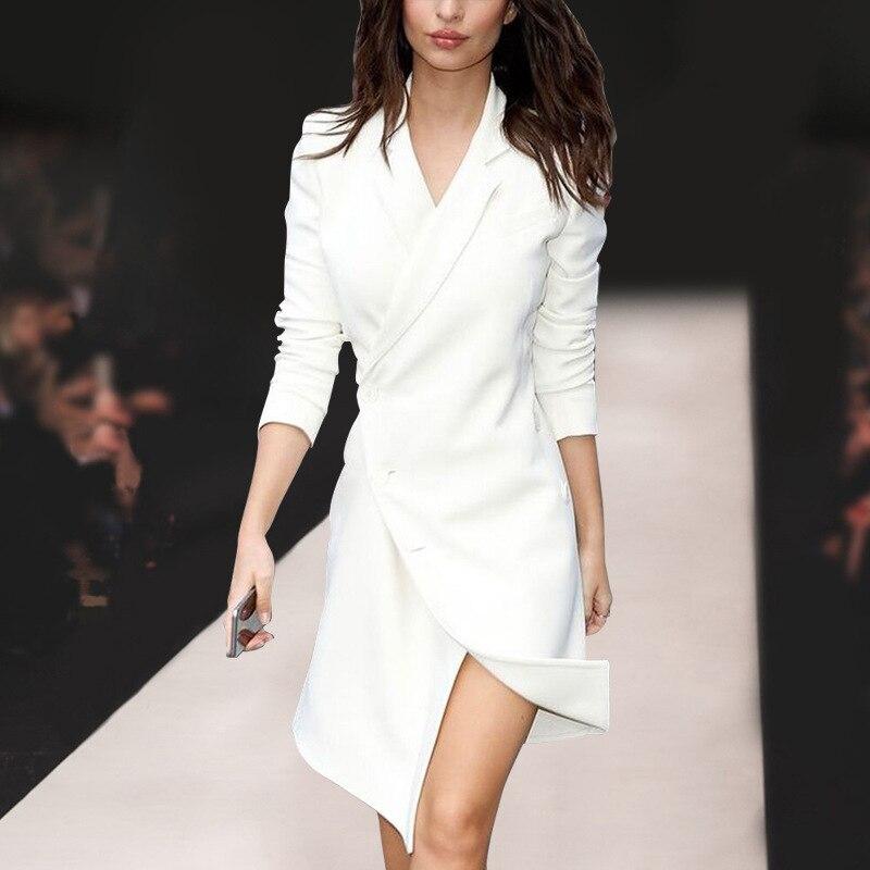 คุณภาพฤดูใบไม้ร่วงฤดูใบไม้ผลิ Elegant Lady High Street Notched ของแข็งสีรันเวย์สีขาวไม่สมมาตร Vestidos-ใน ชุดเดรส จาก เสื้อผ้าสตรี บน   1