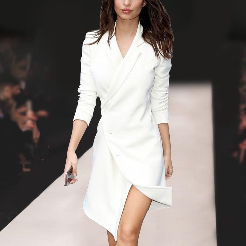 Vestidos asimétricos blancos de calidad otoño primavera elegante señora calle alta entallada de Color sólido-in Vestidos from Ropa de mujer    1
