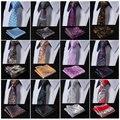 """EFA Paisley Floral 2.17"""" 100%Silk Woven Slim Skinny Narrow Men Tie Necktie Handkerchief Pocket Square Suit Set"""