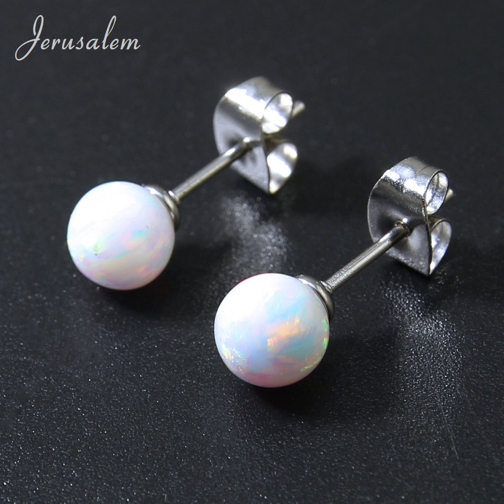 ZS White Fire Opal Stones Stud Earrings For Women Silver Color Earrings Stud Opal Earrings Natural Stone For Women Jewelry ...