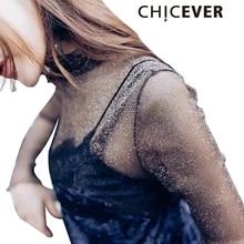 CHICEVER 2017 Summer Female T Shirt for Women Turtleneck Long Sleeve Mesh Tops Korean Sexy Transparent Underwear Basic Clothes