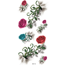 Women's 3D Colorful Waterproof Body Lip Art Sleeve DIY Stickers Glitter Temporary Tattoos Mini Rose Flower tatto