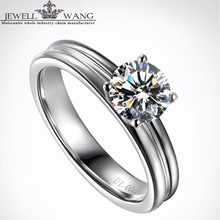 JEWELLWAGN Moissanite Engagement Rings for Women 1.00CT Certified 18K White Gold Wedding Rings Fine Jewelry Round Classic Gift