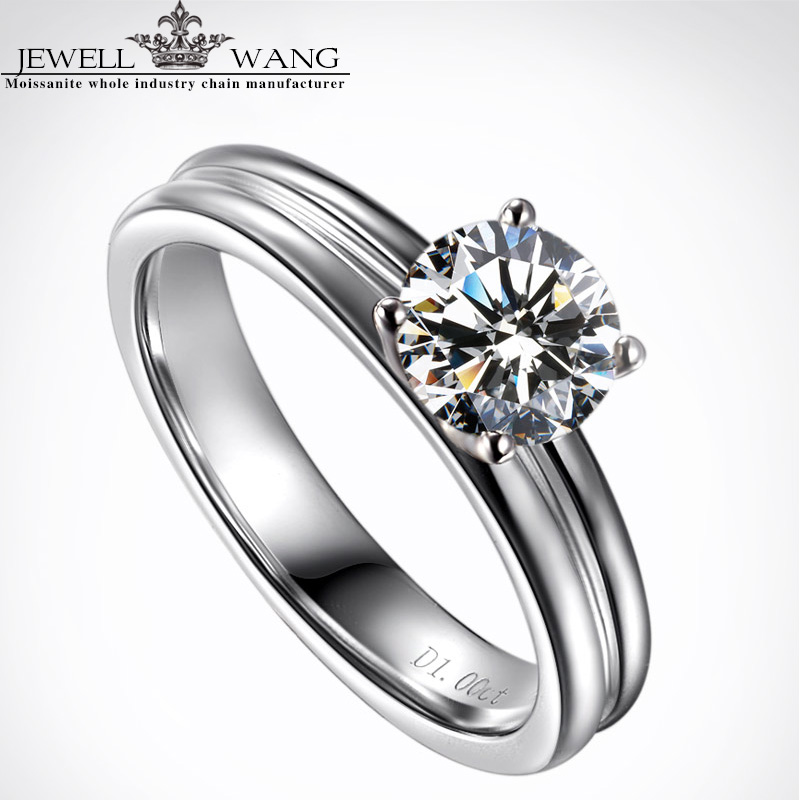 JEWELLWAGN Moissanite Engagement Rings for Women 1.00CT Certified 18K White Gold Wedding Rings Fine Jewelry Round Classic Gift ...