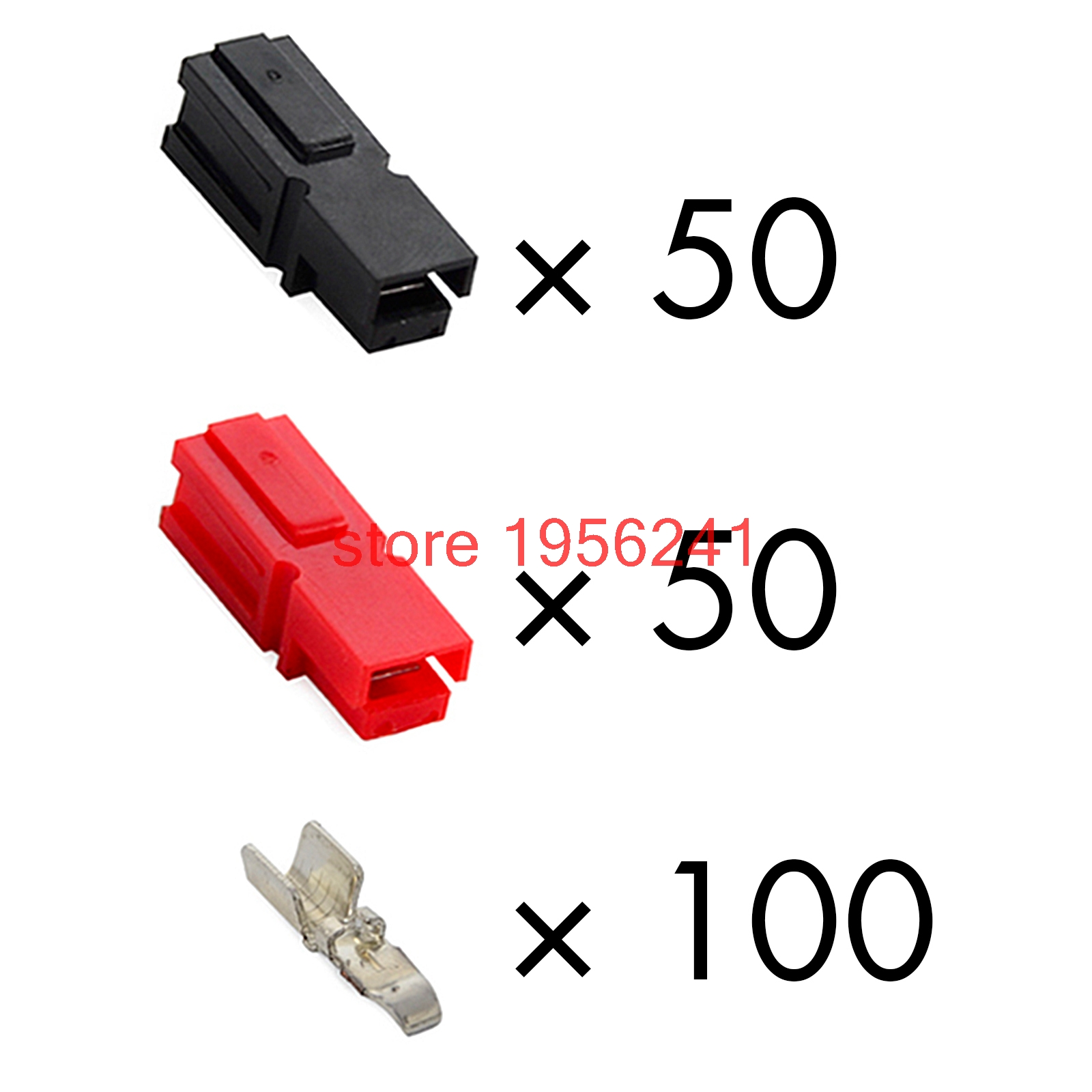 45A Amp 600V Power Marine Connector Pole 50Pair Black Red Interlocking Plugs 100PCS Terminals For Powerpole