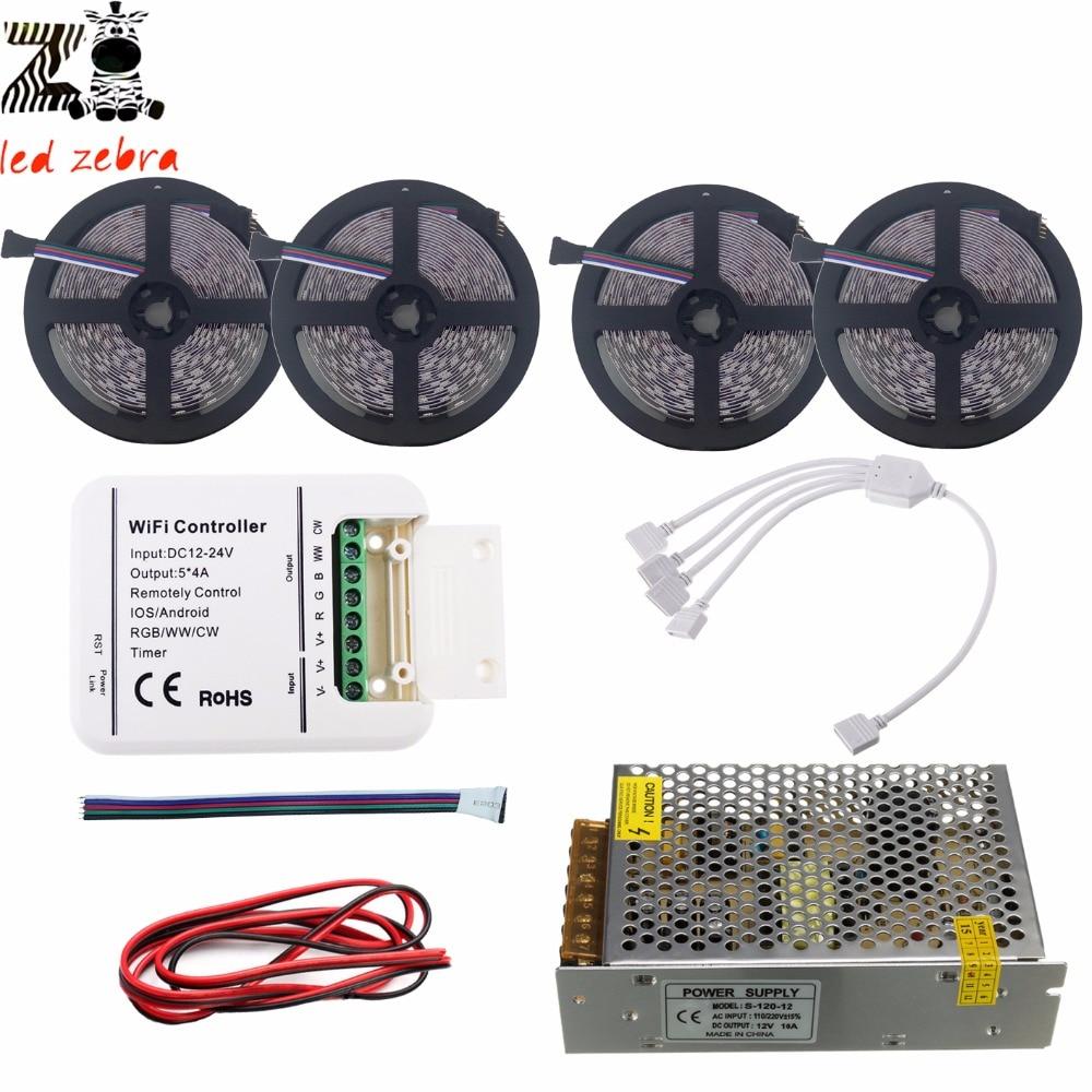 5m/10m/15m/20m 5050 SMD rgbw rgbww led strip light+rgbw wifi led controller+12v led power transformer+5m 2pin led cable wire цены