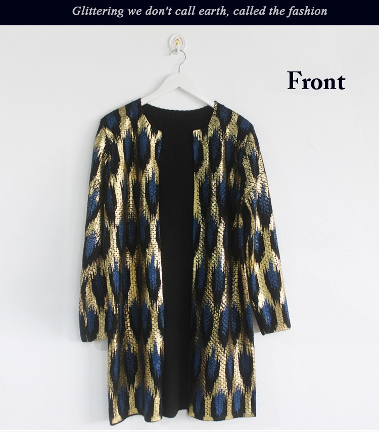 HTB1TpvtJFXXXXcMXpXXq6xXFXXXA - 2015 Autumn New The peacock printing Knitting Long Cardigan Ladies Sweater Women Coat Outwear Snake Pattern Bronzing Tops