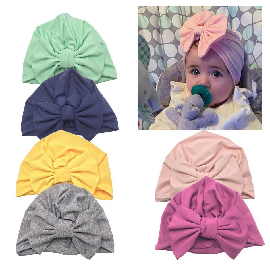 2019 Spring/Summer Indian Hat In Solid Color, Baby Pullover Hat, Bow Turban Cap 0 12m
