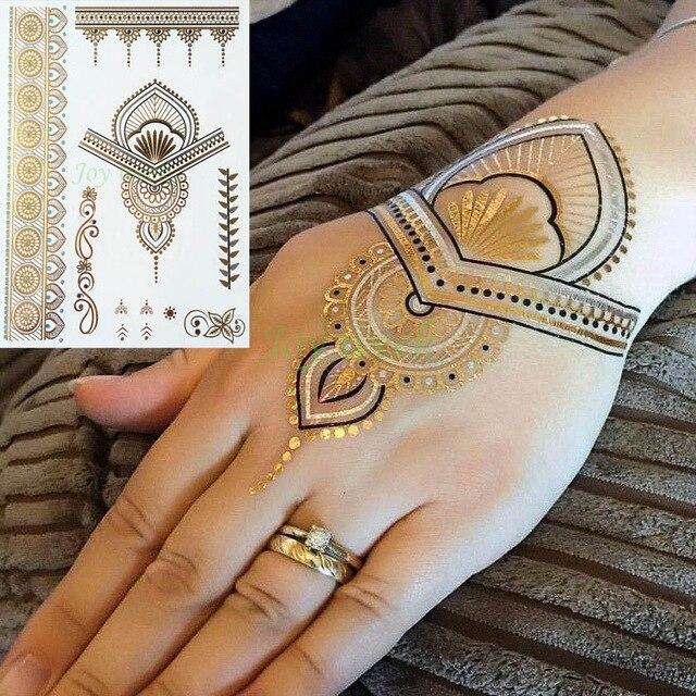 Waterproof Temporary Tattoo Sticker Gold Sliver Metallic Henna Hair Tatto Flash Tatoo Fake Tattoos For Women