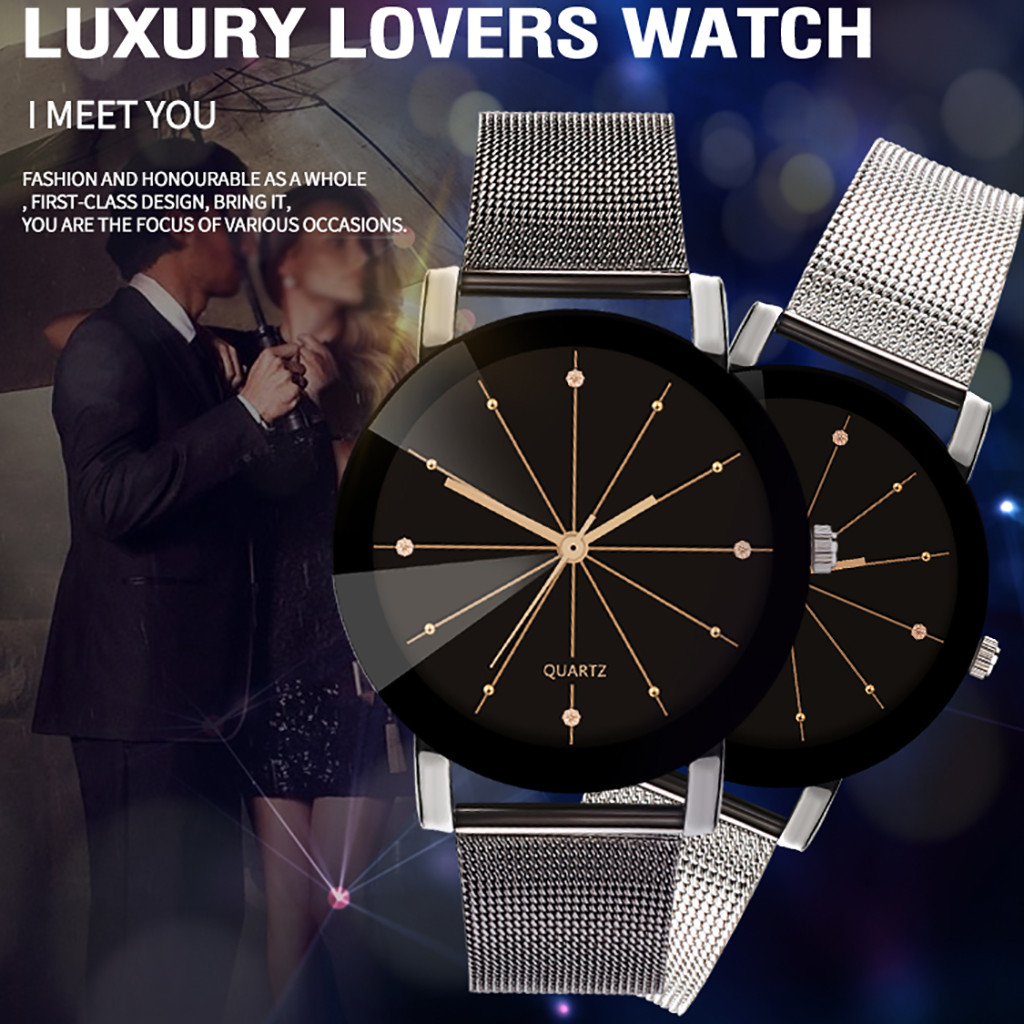 New Luxury Lovers Watch Fashion Design Couple Dress Wristwatch Stainless Steel Casual Watches Male Women Clock Lover Watch Men