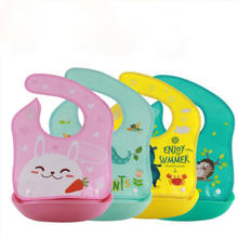 Multi-style Cartoon Bibs Baby Kid Bib Wipe Clean Feeding Dribble Boy Girl Silicone Mealtime Cloth Accessories(China)