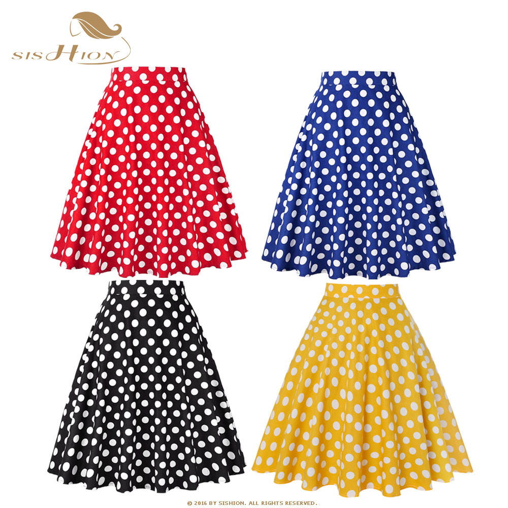 SISHION Women Skirt Blue Red Black White Polka Dot High Waist Vintage Skater Faldas Mujer Plus Size School Short Skirt VD0020