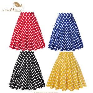 Image 1 - SISHION נשים חצאית כחול אדום שחור לבן מנוקדת גבוה מותניים בציר סקטים faldas mujer בתוספת גודל בית ספר קצר חצאית VD0020