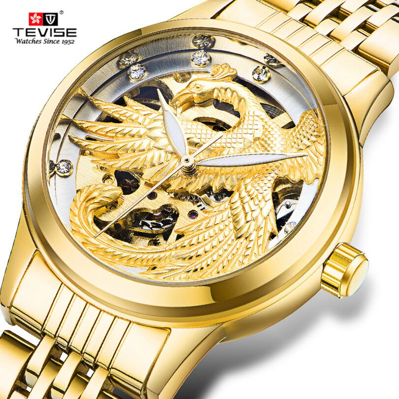 Tevise Luxury Womens Eagle Crystal Hollow Out Dial Auto Mechanical Wristwatch Gift Box Free Ship