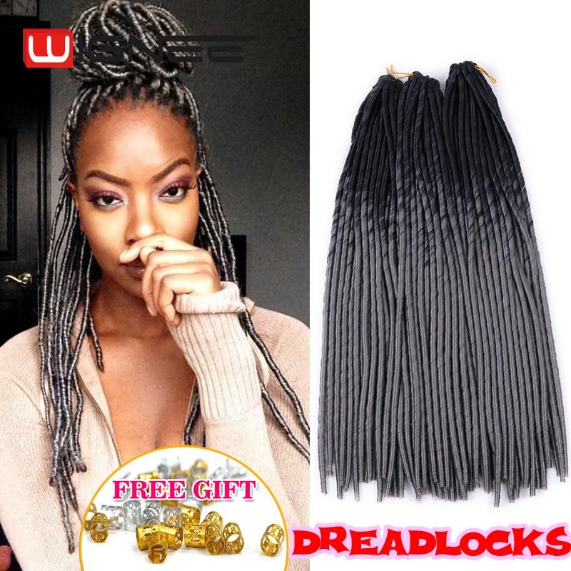 20 Inch Ombre Grey Faux Locs Crochet Braid Dreadlocks Hair Synthetic