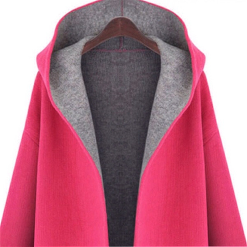 2016-Autumn-Winter-Female-trench-coat-Fashion-Dust-Pocket-Coat-Woman-pink-loose-long-hooded-cardigan (2)