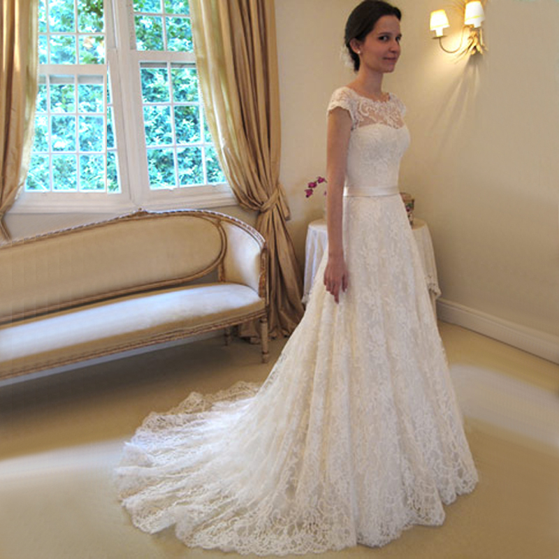 Compare Prices on Lace Cap Sleeve Wedding Dress Open Back- Online ...