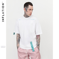 INFLATION Green Tapes Details Design Fashion O Neck T Shirt Famous Brand Short Sleeve Loose Fit