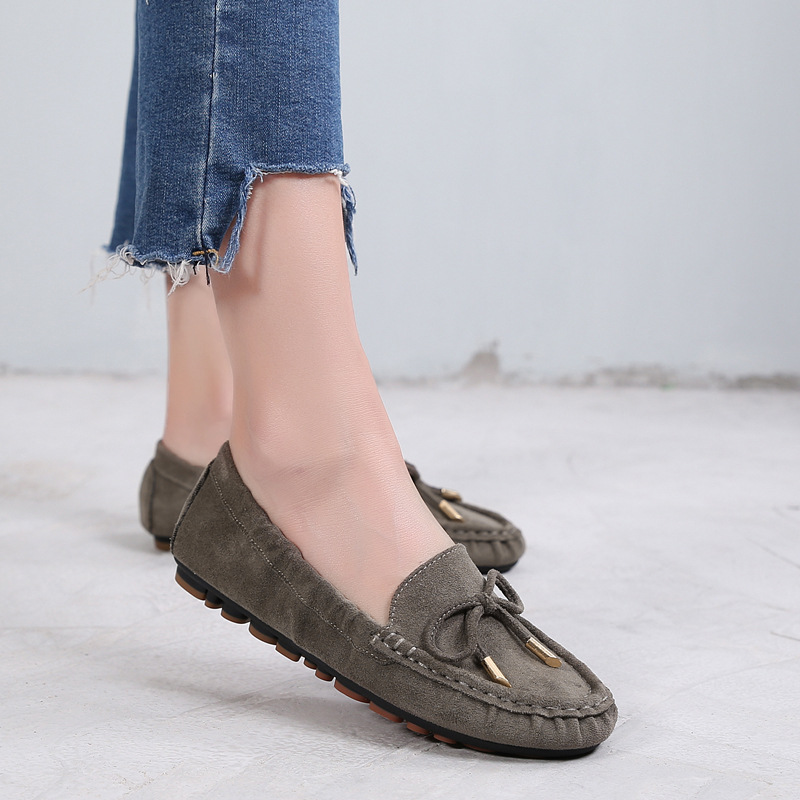 2019 Women Eggs Roll Ballet Loafers Flats Soft   Leather   Pregnant   Suede   Slipony Flats Plus Size 35-42 Female Mocassin Shoes YGH-16