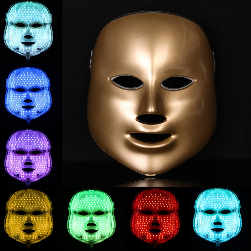 LED Face Mask 7 Colors LED Photon Facial Mask Wrinkle Acne Removal Spa Device Skin Rejuvenation White Facial Masker US Plug 7 colors light photon electric led facial mask skin pdt skin rejuvenation anti acne wrinkle removal therapy beauty salon