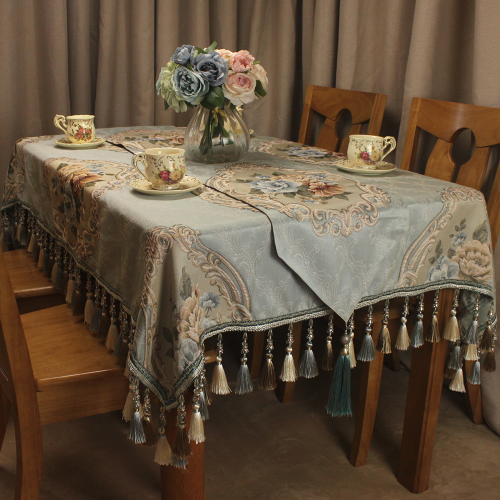 Us 22 42 5 Off Curcya Blue Vintage Tablecloth For Home Decor Luxury Jacquard Fl Formal Clic Table Cloth Cover Wedding Banquet In