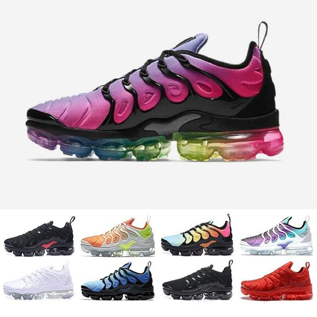 free shipping New 2018 Air Vapormax Plus Tn Plus Olive In Metallic White Silver Colorways Mens Shoes For Running Pack Men Shoes