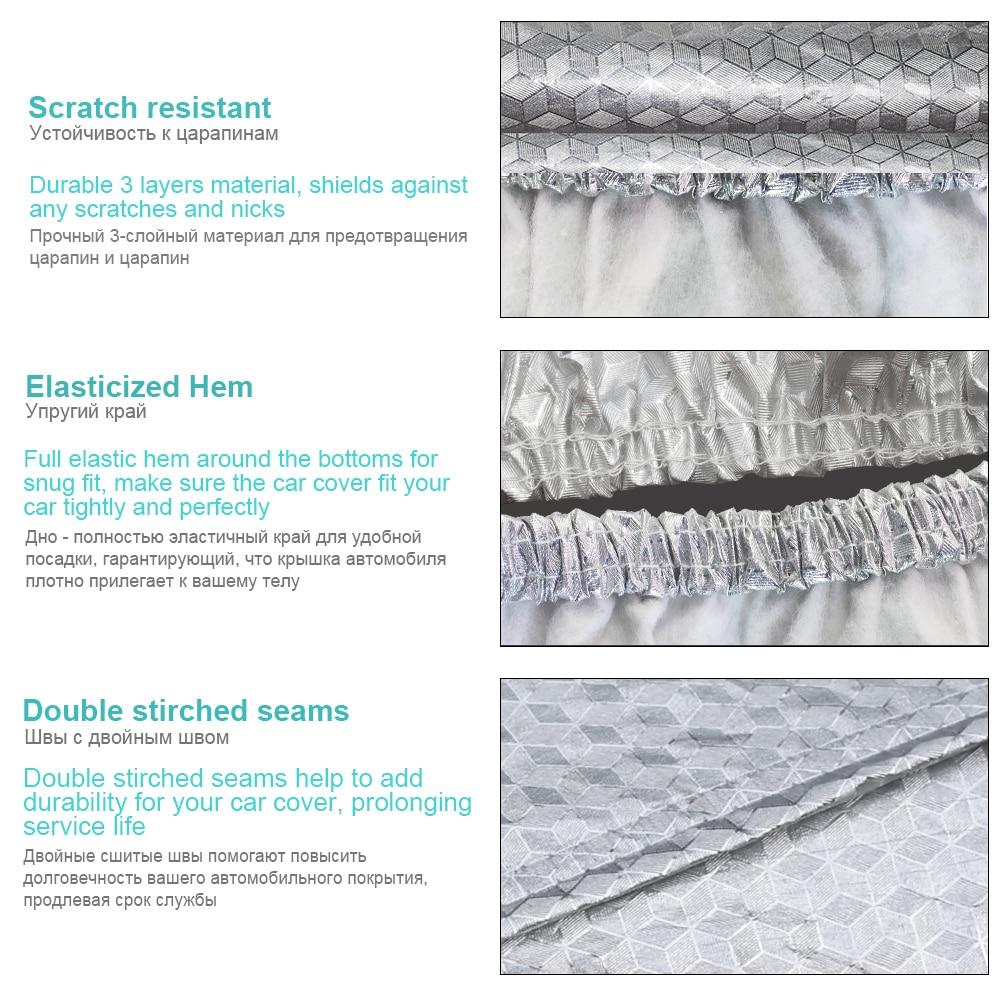 Buildremen2 Épaisse Couverture De Voiture 3 Couche En Aluminium Feuille + Polyester Taffetas + Coton Étanche Soleil Pluie Résistant À La Grêle Auto Couverture - 3