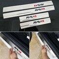 O envio gratuito de Aço Inoxidável Porta Placa de Chinelo acessórios do carro Soleira Para Toyota Rav4 2014 2015 2016