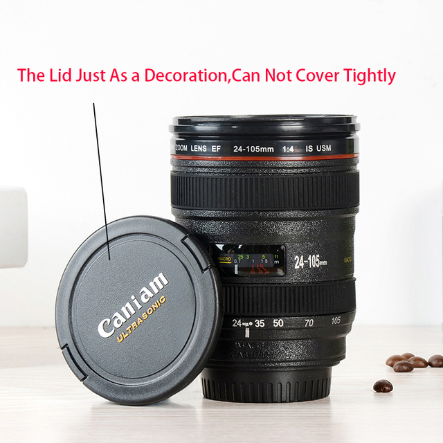 2019 New Coffee Lens Emulation Camera Mug Beer Mug Wine With Lid Black Plastic Cup Caniam Logo Mugs Cafe 400ml 4