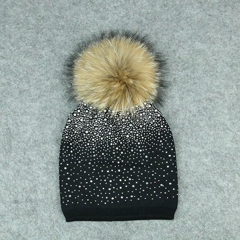 winter knitting hat for women wool hat beanies 15cm real raccoon fur pom poms Shiny hat