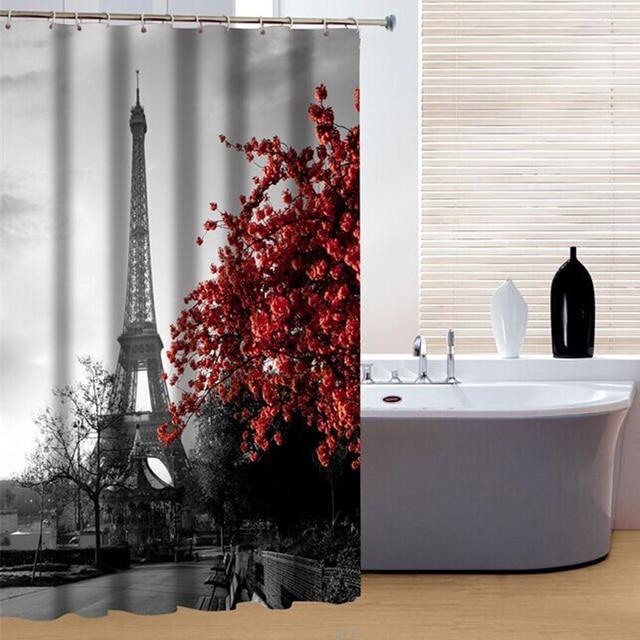 Rideau de douche Rouge plum fleur Tour Eiffel Motif Salle De Bains ...