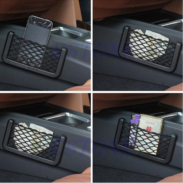 Black Car Auto String Mesh Bag Storage Pouch For Cellphone Gadget Cigarette New 1Pc