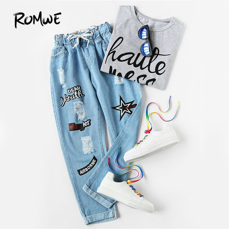 ROMWE Ripped Cuffed   Jeans   Women Blue Offset Printing Drawstring Mid Waist Denim Pants Fashion Casual Pockets Cropped   Jeans