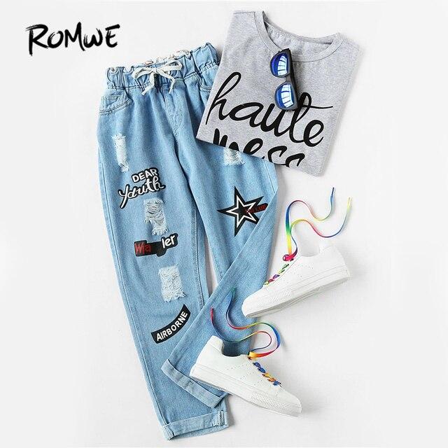 Romwe Ripped манжетой Джинсы Для женщин синий офсетной печати шнурок середине талии джинсовые штаны модные Повседневное Карманы обрезанные Джинсы