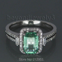 New Vintage 100% Natural Emerald Engagement Ring Solid 14K White Gold Ring For Women
