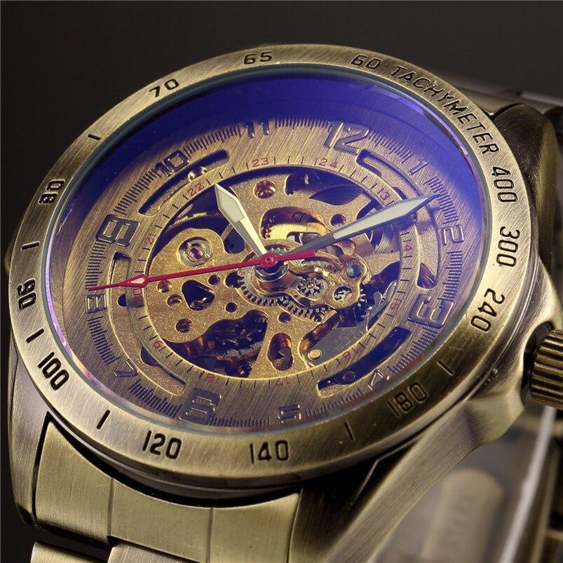 Antique Conception Automatique Squelette Mécanique Montre Vintage En Laiton acier Hommes de Montre-Bracelet Squelette Steampunk Horloge Hommes Cadran Bleu