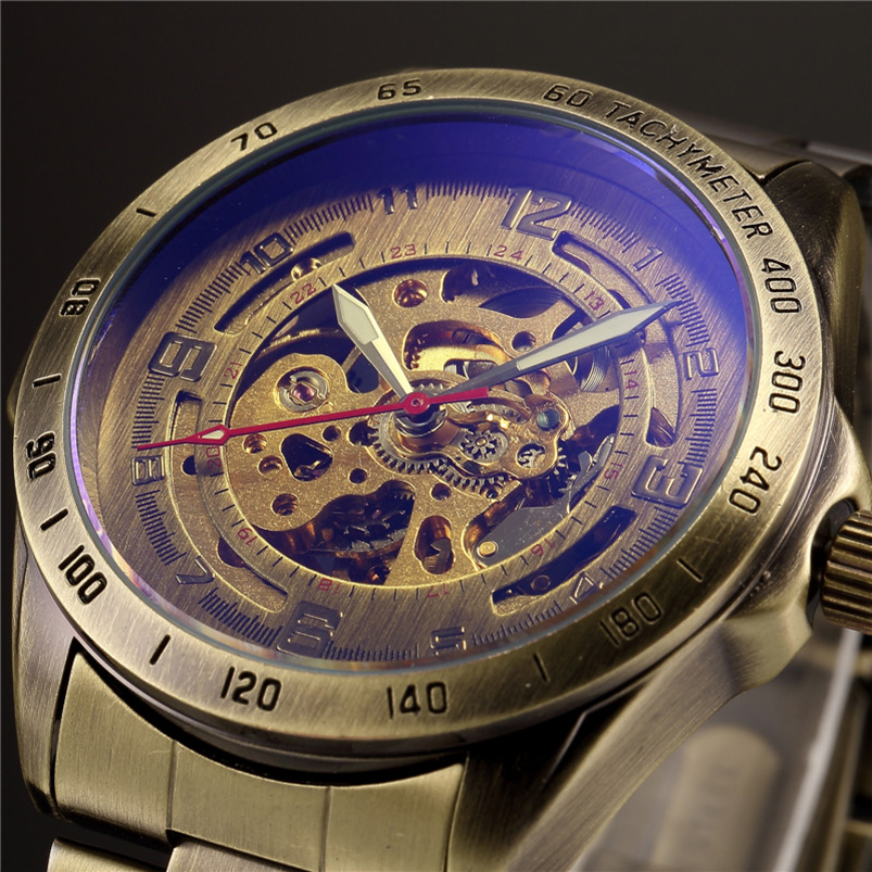 Antique Design Automatic Skeleton Mechanical Watch Vintage Brass steel Men's Wristwatch Skeleton Steampunk Clock Male Blue Dial vintage bronze men wristwatch skeleton clock male leather strap antique steampunk casual automatic skeleton mechanical watches