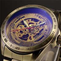 W starym stylu automatyczny mechaniczny zegarek szkielet Vintage mosiądz stalowy zegarek męski szkielet Steampunk zegar mężczyzna niebieska tarcza