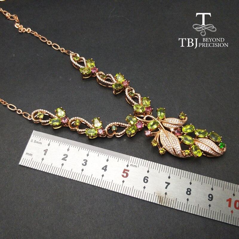 TBJ, nouveau design de luxe avec péridot naturel collier de pierres précieuses en argent sterling 925 bijoux fins pour dame avec boîte-cadeau - 5