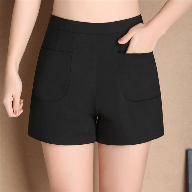 Korte Broek Zwart Dames.2017 Nieuwe Zomer Mode Nieuwe Vrouwen Shorts Hoge Taille Casual Pak